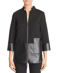 Misook - Faux Leather-paneled Zip Jacket - Lyst