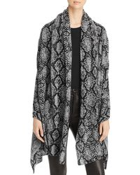C By Bloomingdale's Snake Print Cashmere Travel Wrap - Black