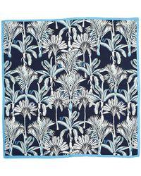 Echo Wild Palm Square Silk Scarf - Blue