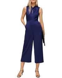 Whistles Cropped Satin Jumpsuit - Blue
