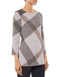 Misook Diagonal Plaid Knit Tunic - Multicolour