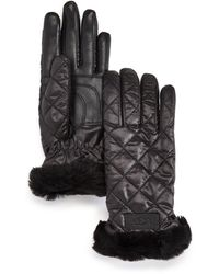 UGG Quilted Performance Tech Gloves With Sherpa Lining - Black