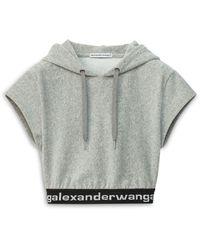 T By Alexander Wang Hoodie Crop Top - Gray