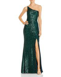 Betsy & Adam Aqua One - Shoulder Sequin Gown - Green