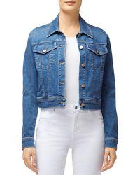 J Brand Harlow Shrunken Denim Jacket In Rapture - Blue