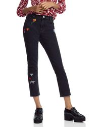 Maje - Multicolour Patch Frayed Cropped Jeans - Lyst