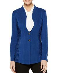 Misook Textured Panel Blazer - Blue
