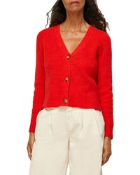 Whistles Rib Knit Button Front Cardigan - Red