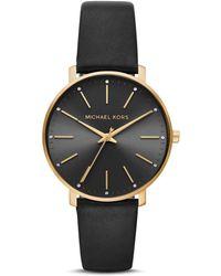 Michael Kors Women's Leather Pyper Watch - Black