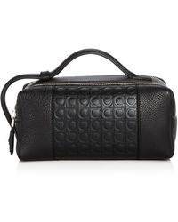 Ferragamo - Stamped Gancini And Pebbled Leather Travel Kit - Lyst