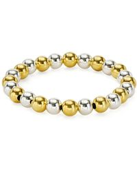 Aqua - Beaded Stretch Bracelet In 18k Gold - Plated Sterling Silver And Sterling Silver - Lyst