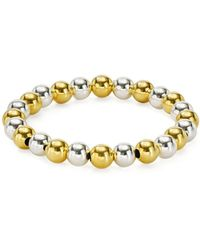 Aqua - Beaded Stretch Bracelet In 18k Gold-plated Sterling Silver And Sterling Silver - Lyst