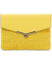 Botkier Valentina Straw & Leather Envelope Clutch - Yellow