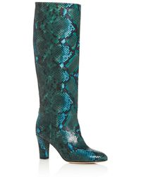 SJP by Sarah Jessica Parker Women's Rayna Snake - Embossed High - Heel Boots - Blue