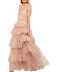BCBGMAXAZRIA Eve Tiered Ruffled Tulle Maxi Dress - Pink