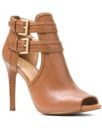 MICHAEL Michael Kors - Women's Blaze Open-toe Leather High-heel Booties - Lyst
