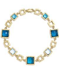 Bloomingdale's - London Blue And Swiss Blue Topaz Geometric Bracelet In 14k Yellow Gold - Lyst
