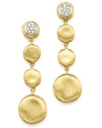 Marco Bicego Pavé Diamond Jaipur Drop Earrings In 18k White & Yellow Gold - Multicolour