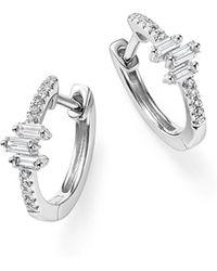 KC Designs - 14k White Gold Diamond Mosaic Hoop Earrings - Lyst