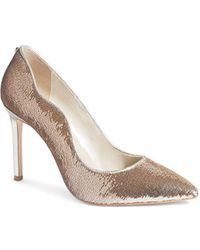 Karen Millen Sequin Pointed Toe Stiletto Heel Court Shoes - Metallic