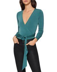 BCBGeneration Crossover Tie - Waist Bodysuit - Green