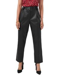 Vince Camuto Straight Leg Faux Leather Trousers - Black