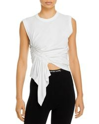 T By Alexander Wang Asymmetrical Ruched Muscle Tee - White