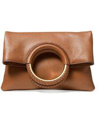 MICHAEL Michael Kors Rosie Medium Leather Foldover Ring Crossbody - Brown