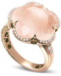 Pasquale Bruni - 18k Rose Gold Bon Ton Floral Rose Quartz & Diamond Ring - Lyst