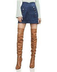 BCBGMAXAZRIA Ingrid Faux Suede Mini Skirt - Blue