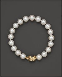 Bloomingdale's - Cultured Freshwater Pearl Small Bracelet In 14k Yellow Gold, 8mm - Lyst