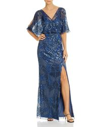 Aidan Mattox Embellished Blouson Gown - Blue
