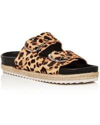 Aqua Women's Kail Leopard Print Calf Hair Slide Sandals - Brown