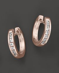 Bloomingdale's Channel Set Huggie Hoop Earrings In 14k Rose Gold - Metallic