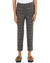 Peserico Wool Blend Plaid Pants - Brown