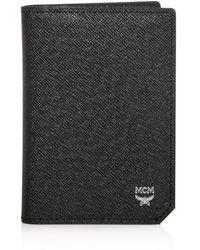 MCM Bric Leather Bi - Fold Card Case - Black