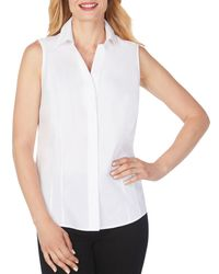 Foxcroft Taylor Sleeveless Non - Iron Stretch Shirt - White