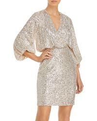 Eliza J Long Sleeved Sequinned Dress - Metallic