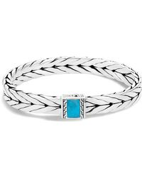 John Hardy - Sterling Silver Modern Chain Turquoise With Black Matrix Bracelet - Lyst