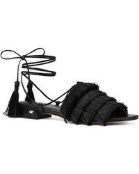 9b5657f5e8e5 MICHAEL Michael Kors - Women s Gallagher Fringed Ankle Tie Sandals - Lyst