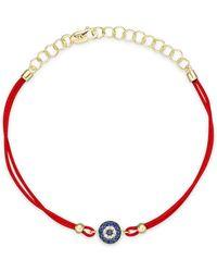 Meira T - Blue Sapphire And 14k Yellow Gold Evil Eye Bracelet - Lyst
