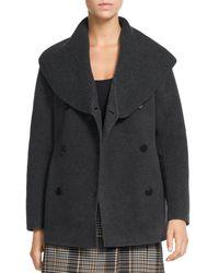 Theory Shawl Collar Wool & Cashmere Peacoat - Grey