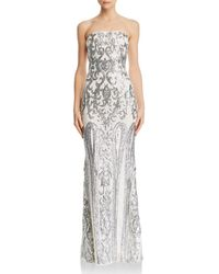 Aqua - Strapless Sequined Gown - Lyst