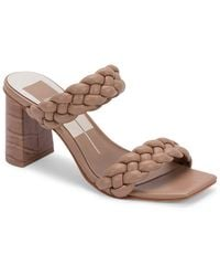 Dolce Vita Paily Braided Double Strap High Heel Sandals - Brown