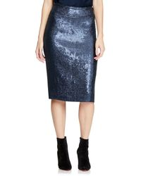 Halston Sequined Pencil Skirt - Blue
