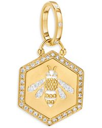 Temple St. Clair 18k Yellow Gold Diamond Bee Pendant - Metallic