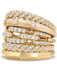 David Yurman - Stax Five Row Ring With Diamonds In 18k Gold - Lyst