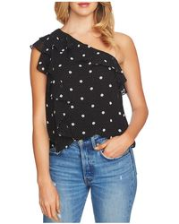 1.STATE - One-shoulder Dot-print Ruffle Top - Lyst