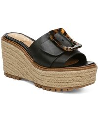 Sam Edelman Livi Buckle Platform Wedge Espadrille Sandals - Black