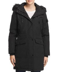 Calvin Klein Faux Fur Trim Parka - Black